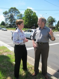 Tanya at the lights with Ken Innes, President of Glenmore Park Action Group